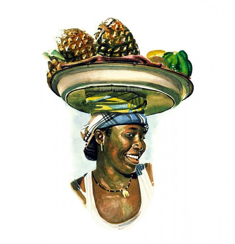 Watercolour of African Girl Selling Fruit