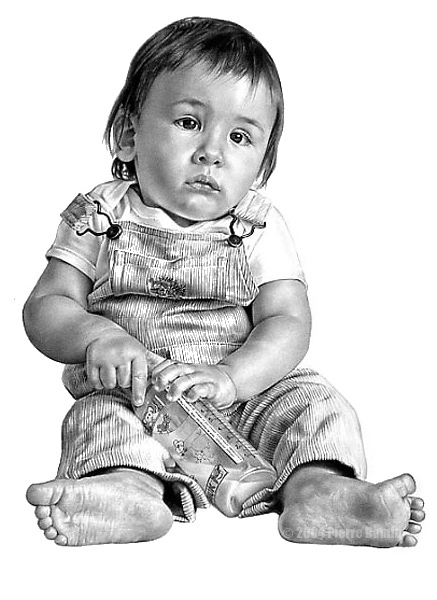 Pencil Drawing of Boy Sitting