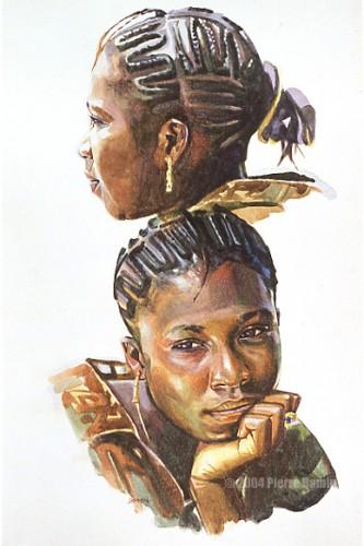 African Girl Head Study. Watercolour on Board