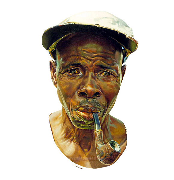 Acrylic Portrait of African Man with Pipe