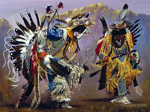 Oil Painting of Dancing American Indians