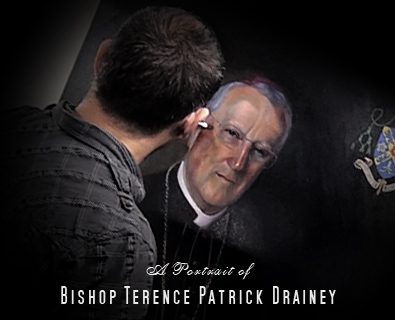 Bishop Drainey Video showing the oil portrait of Bishop Terence Drainey