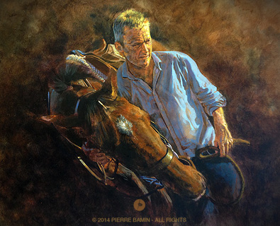 Frank and The Artist acrylic painting of a man and his horse