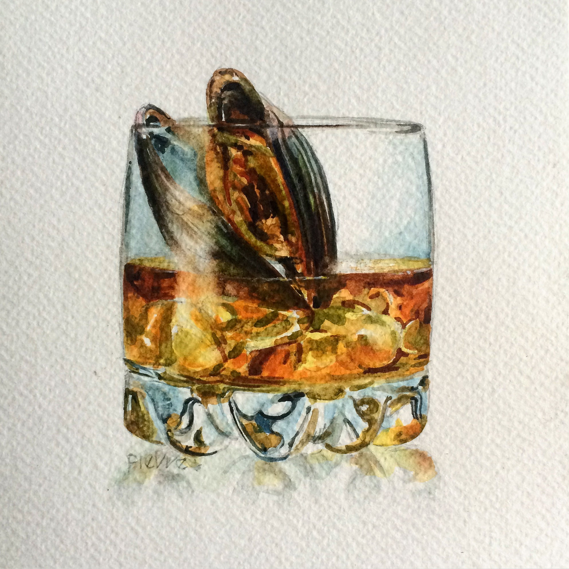 watercolour painting showing a glass of whiskey wit a mussel inside