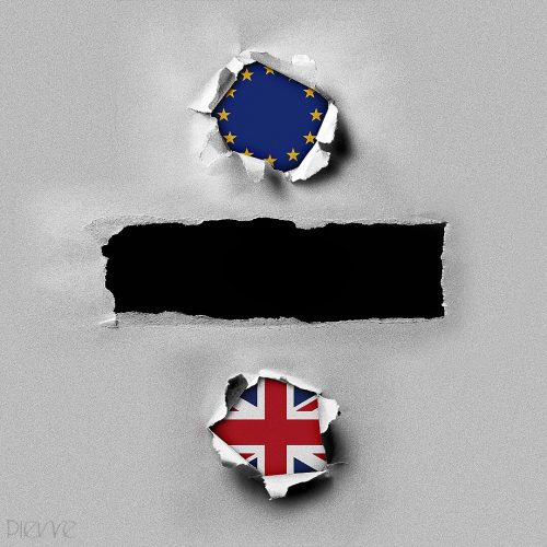 An graphic showing the division sign using both the EU and UK flags as the colons. Instead of Fraction bar, it is titled Friction Bar