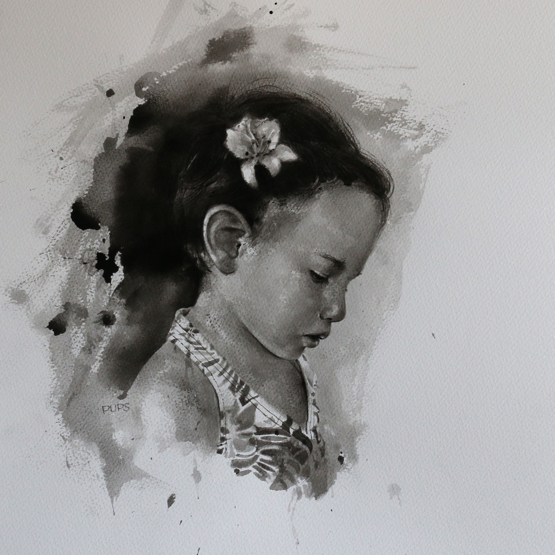 Monochrome watercolour of the artist's daughter, titled Little Girl
