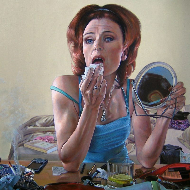 Painting of woman sitting at dressing table removing her lipstick