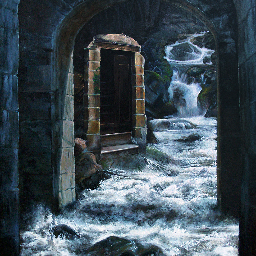 A painting showing a river torrent running through stone arches