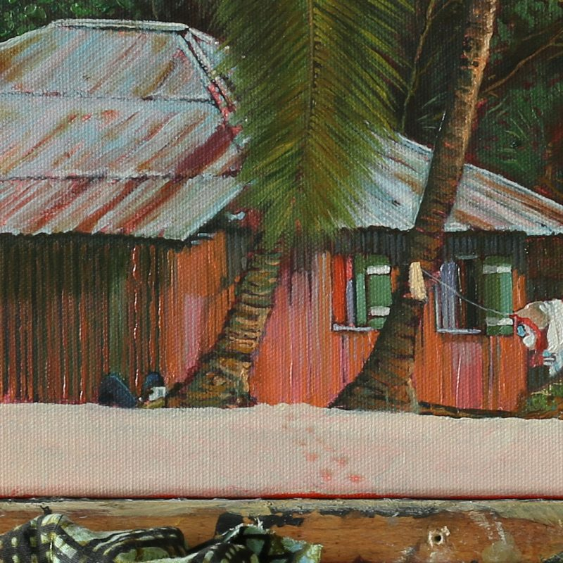 Detail of oil painting showing a man lying down on a beach beneath a palm tree, reading a book. Footprints in the sand also