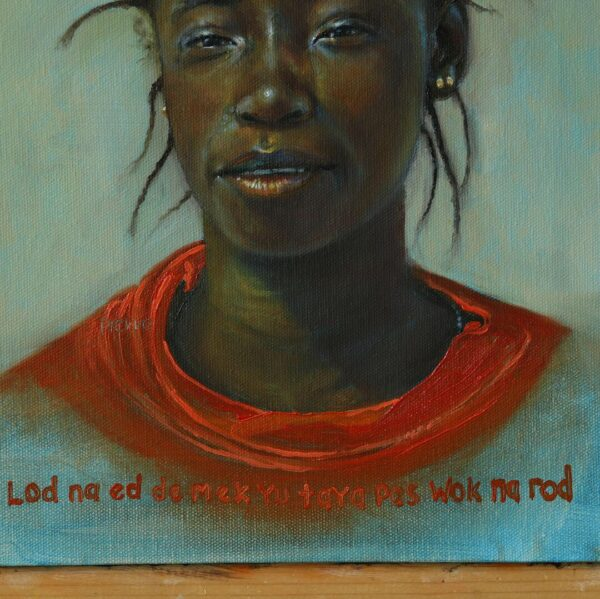 Lod Na Ed is an oil painting of an African lady carrying African material on her head. The title is in Krio and it means, Worries of the Mind