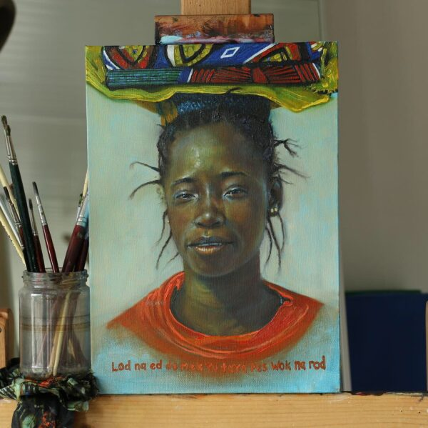 Oil Painting of African woman carrying arcane cotton material on her head