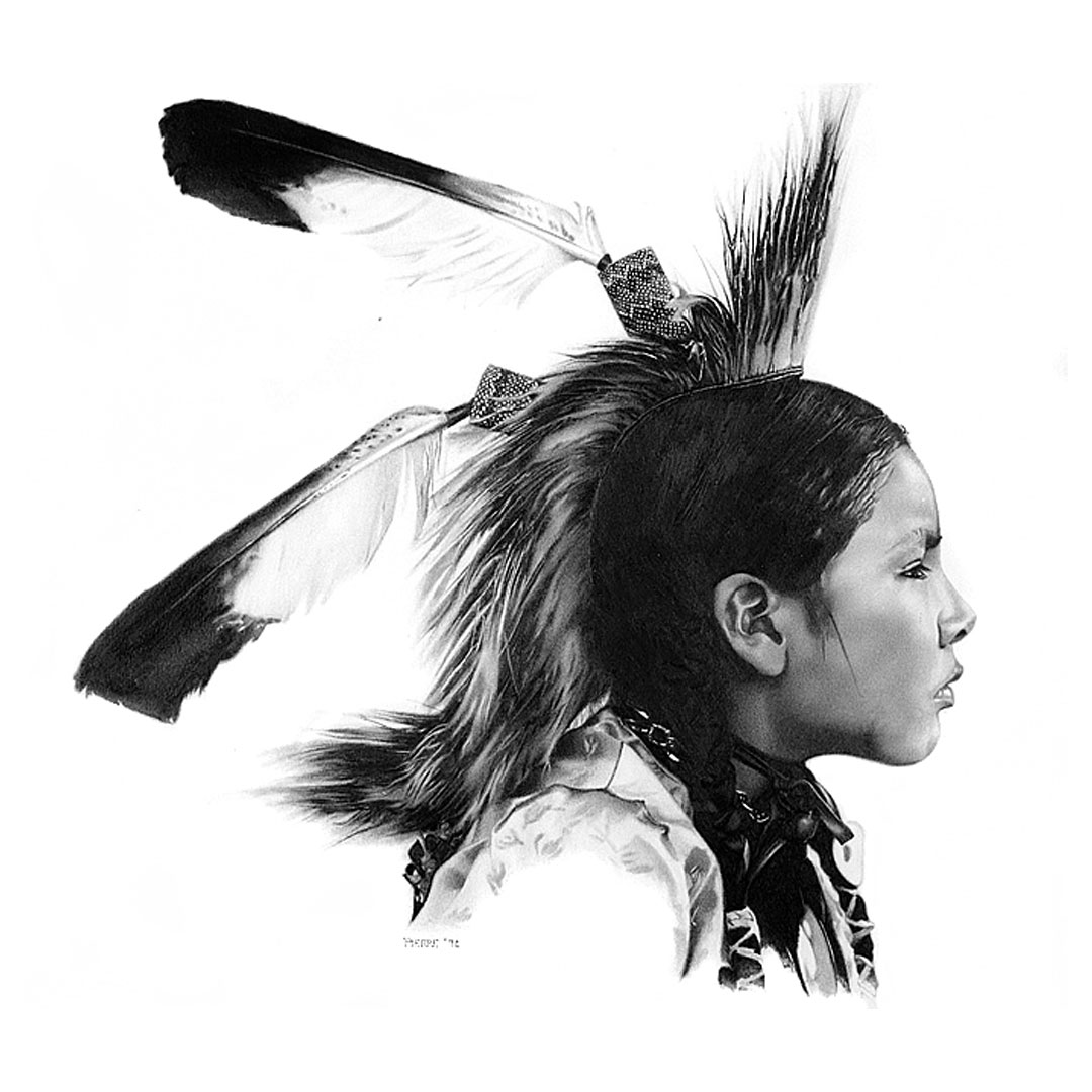 Pencil drawing of an American Indiian boy with head dress