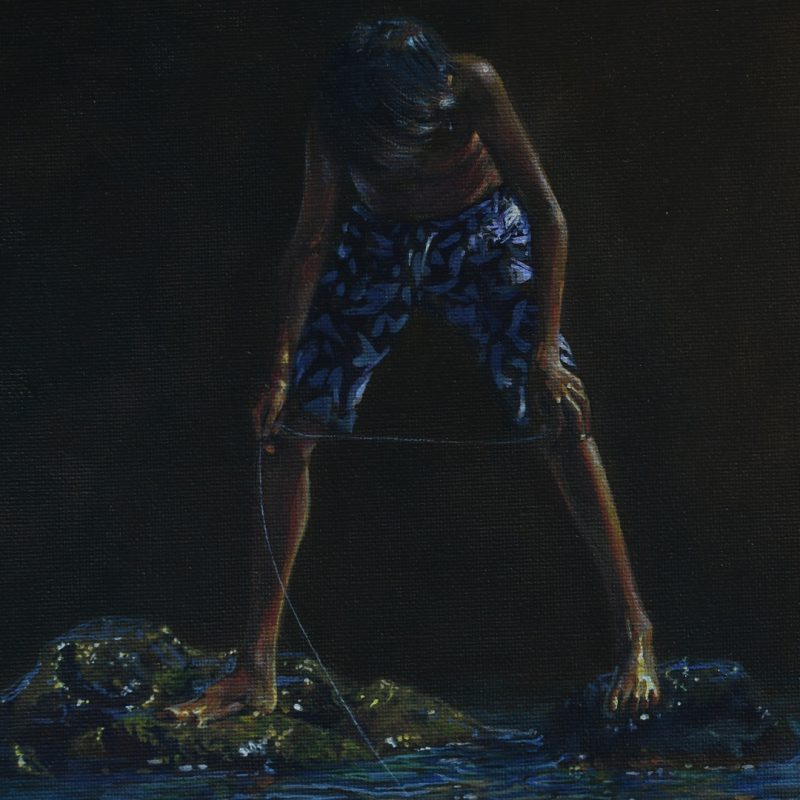 Acrylic painting titled Drop a Line by Pierre Bamin