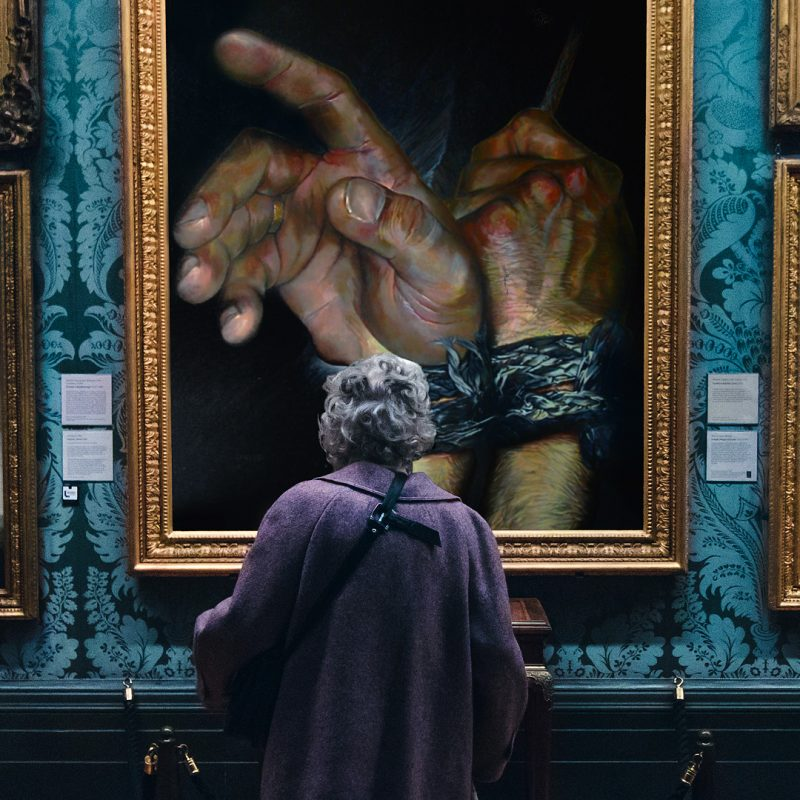Art investments - A fun image depicting Pierre's dream of a viewer admiring his work in an art gallery