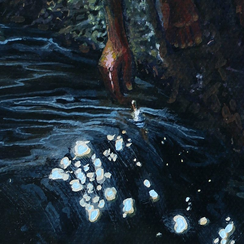 A closeup of the acrylic painting Floating on the Walls showing the boy's hand on the rock in detail