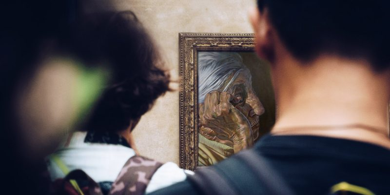 Digitally enhanced image of people admiring a painting by Pierre Bamin