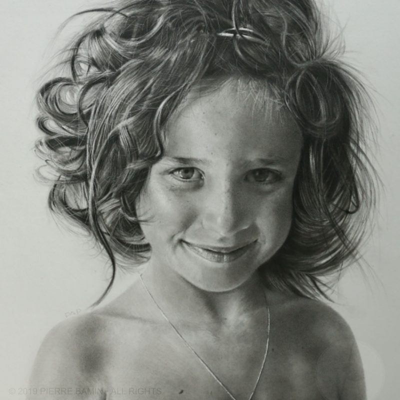 Pencil drawing of the artist Pierre Bamin's daughter. Titled Talitha