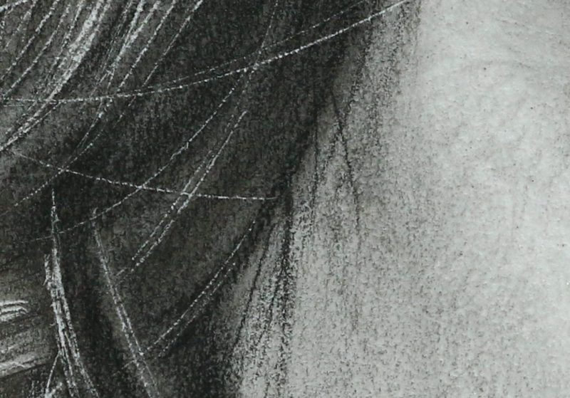 Hair detail of the pencil drawing of the artist Pierre Bamin's daughter.  Titled Talitha
