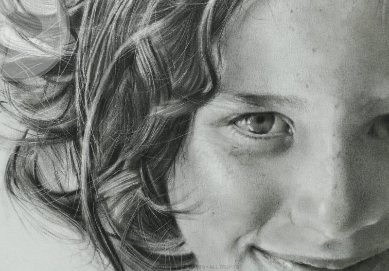 Hair and eye detail of the pencil drawing of the artist Pierre Bamin's daughter.  Titled Talitha