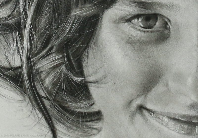 Hair, eye, mouth and cheek detail of the pencil drawing of the artist Pierre Bamin's daughter.  Titled Talitha