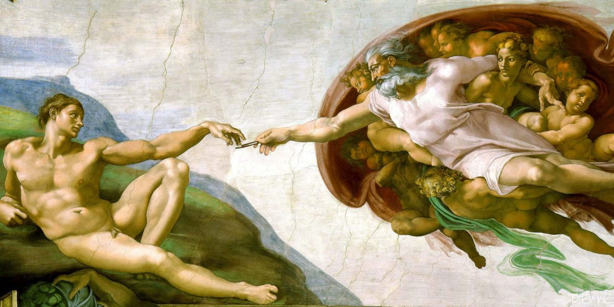 The Creation of Adam Fresco by Michelangelo adapted showing God handing Adam a pencil